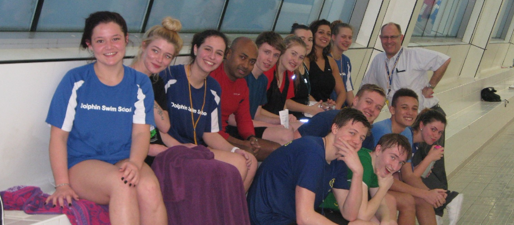 Steve Baker (Tutor) with successful candidates after the Award in Swimming Teaching, February 2016