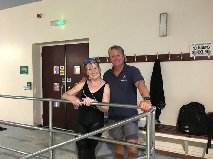 Dave Perry & Jacqueline Chevalier at Whiteley Village pool on the STA Award in Teaching Swimming course